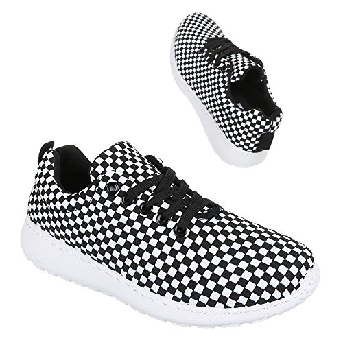 Ital-Design, Sneaker donna Nero (Nero/Bianco)