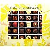 Hallingers 30er Pralinen-Mix handgemacht, mit/ohne Alkohol (360g) - Herzlichen Glückwunsch (Pralinenbox) - zu Geburtstag & Glückwunsch