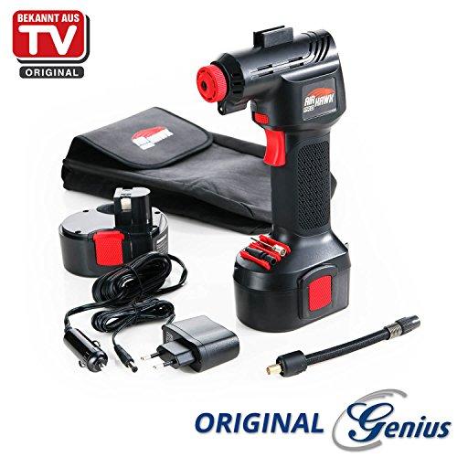 Preisvergleich Produktbild Genius A20001 Air Hawk Pro | 8 Teile Luftkompressor | Elektrische Druck-Luftpumpe | Inkl. Akku und Auto-Adapter | Neu