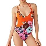 TOPKEAL St¨¹ck Badeanzug Print Verband Badeanzug Damen Neckholder Bademode Push up Tankini Bandeau mit Bikini Triangle (Orange, Small)