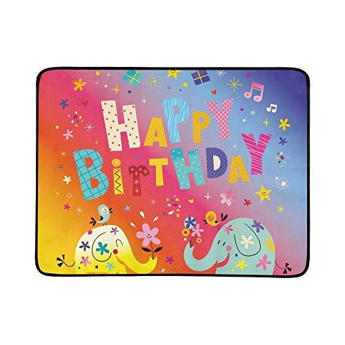 KAOROU Tarjeta de felicitación del Feliz cumpleaños Elefantes Lindos Manta portátil y...