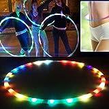 lzndeal - Hula hoop a LED, completamente ricaricabile, 28 colori, luci stroboscopiche, 90 cm