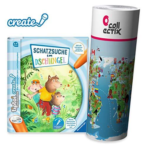 Ravensburger tiptoi ® Create Buch | Schatzsuche im Dschungel + Kinder Weltkarte - für Kinder ab 6 Jahre