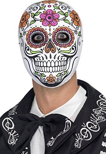 Sugar Skull Skelett Vollmaske Tag der Toten weiss-bunt - Tag Skull Toten Der Den Maske