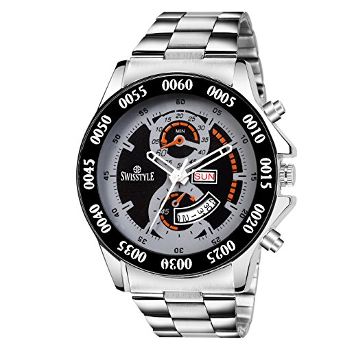 Swisstyle Day and Date Display Black Dial Men\'s Analog Watch-SS-GR0066-BLK-CH