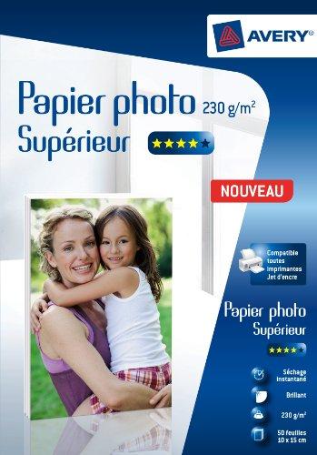 AVERY - 50 feuilles de papier photo 230g/m² brillant qualité supérieure, Format 10x15cm, Impression jet d'encre