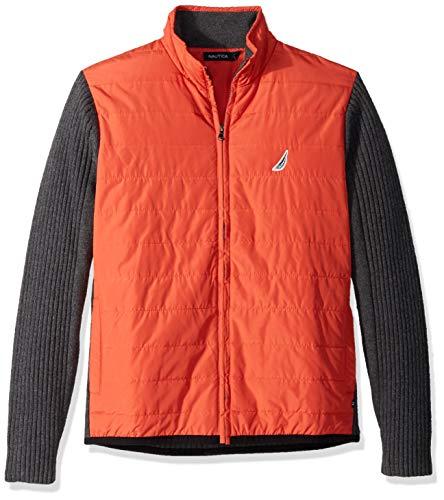 Nautica Herren Long Sleeve Full Zip Front Mock Neck Sweater Pullover, Orange Poppy, XX-Large - Baumwolle Mock Neck Herren T-shirt