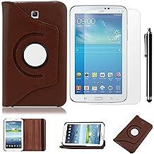 Galaxy Tab 3 7.0 Funda de Cuero,Marrón 360º Rotación Smart Case Cover Funda de Cuero para Samsung Galaxy Tab 3 7.0 pulgada Tablet SM-T210 P3200 Funda Carcasa Piel con práctica función de Soporte + Protectores de Pantalla + lápiz óptic