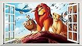 Der König der Löwen 3D V002selbstklebend Magic Wandtattoo Fenster Poster Wall Art Größe 1000mm breit x 600mm tief (groß)