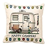 LuckyGirls Kissenbezug 45 x 45 cm Happy Campers Kissenhülle Kopfkissenbezug Sofa Bett Auto Home Decor