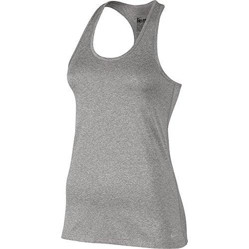 NIKE W NK Dry Damen ärmellos Tank Balance Top, Grau (Dark Grey Heather/Flat Silver), M (Nike Ärmelloses Top)