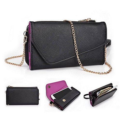 Kroo d'embrayage portefeuille avec dragonne et sangle bandoulière pour Yezz zc20Smartphone Multicolore - Black and Violet Multicolore - Black and Violet