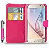 Samsung Galaxy S6 Leather Wallet Flip Case Cover Pouch & retractable Touch Stylus Pen + Free Screen Guard & Cleaning Cloth�- HOT PINK