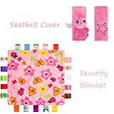 INCAHNT Baby-Tröster Decke mit bunten Tags + Cartoon-Tier-Sicherheits-Sicherheitsgurt-Abdeckung, 2er-Set, Rosa
