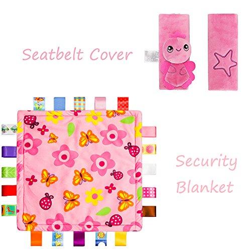 Manta INCAHNT bebé Consolador con coloridas etiquetas de dibujos animados asiento + Seguridad Animal cubierta de la correa, juego de 2, rosa