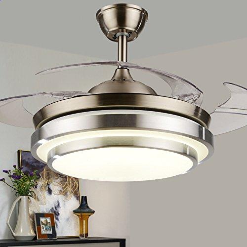 Gqlb la furtività ventilatore da soffitto 24w lampada ventola soggiorno sala da pranzo camera da letto semplice moderno con led lampadario ventilatore diametro 400mm espandere 90cm telecomando