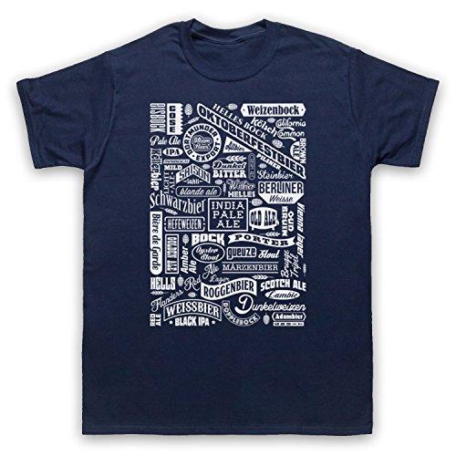 Craft Beer Types Drink Lover Typography Herren T-Shirt Ultramarinblau
