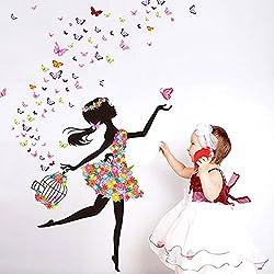 Japace® Adhesivo Mural Extraíble, Diseño de Hada y Mariposas Pegatinas de Pared para Bebe Chicas Dormitorios