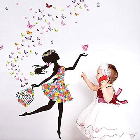 Japace® Schmetterlings Blumen Fee Wandsticker für Mädchen Schlafzimmer Wohnzimmer Dekoration