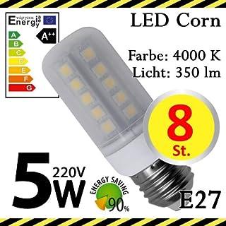 8-er Pack ALMIPEX E27 LED Lampe Korn 5W (350lm - 4500 K - Weiß - 33 x SMD 5050 - 270º Abstrahlwinkel - E27 Sockel - 230V AC - 5 Watt - Ø 32×90 mm)