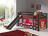 Vipack Spielbett Pino, 90 x 200 cm, mit Rutsche und Textilset Feuerwehr, Kiefer massiv, taupe lackiert