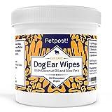 Petpost | Salviette detergenti per Le Orecchie dei Cani - 100 dischetti in Cotone Ultra Morbidi con Soluzione all'Aloe e Cocco - Rimedio per Gli Acari e per Le infezioni delle Orecchie dei Cani