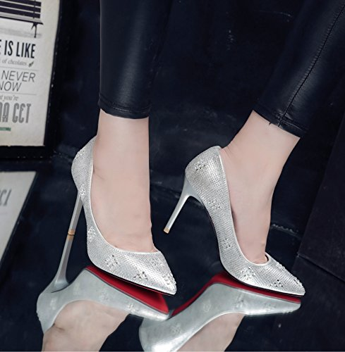 Damen Pumps High-Heels mit Strass Dekoriert Glitzer Spitz Zehen Abend Party Hochzeit Elegant Modisch Rutschhemmend Bequem Stiletto Silber