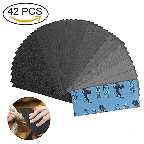 Schleifpapier Set, 42 Stüke 120 to 3000 Grit Schleifpapier Sortiment Trocken und Nasses Schleifpapier, 9 * 3.6 Inch für Polieren