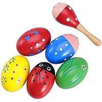 ROSENICE Huevo de madera Maracas Music Percussion Kids Niños Juguete Huevo Shakers 6Pcs(Color aleatorio)