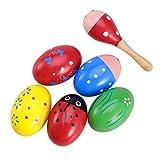 ULTNICE Maracas Egg Shakers mit Holz Rasseln Musikinstrumente Spielzeug für Kinder 6 Stücke (Zufällige Farbe)