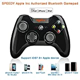 Apple MFi zertifizierte PXN-6603 Speedy Bluetooth Gamepad Drahtlos Gamepad Gaming Controller Joystick mit Phone Halter für iOS 7.0+ Gerät Schwarz(Schwarz)