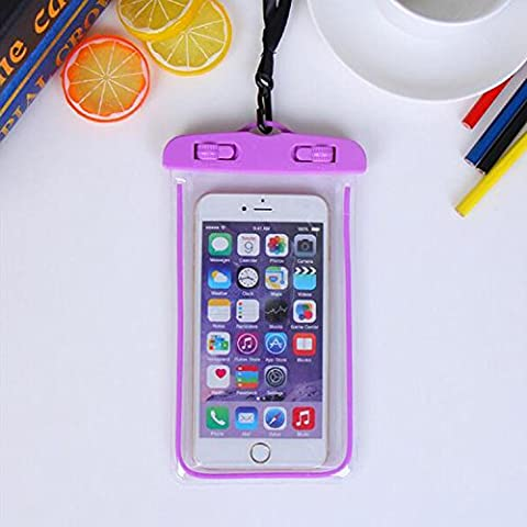 For Imperméable Phone Case,Maetek PVC Lumineux Case Cover Imperméable Cell Phone Sac à sac sec for Smartphone up to 6 inches-Purple