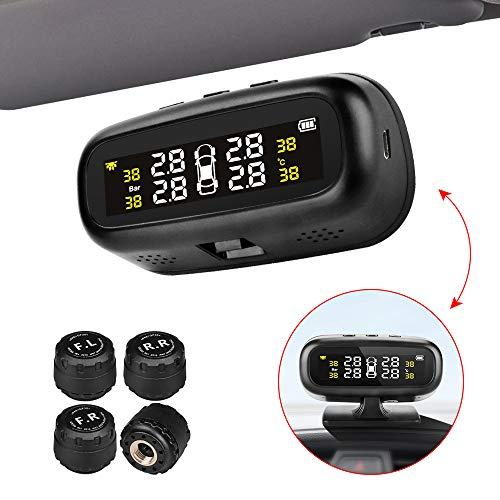 Sistema di monitoraggio della pressione dei pneumatici TPMS Solar Car tire monitor installato sulla finestra con 4 sensori esterni display LCD in tempo reale