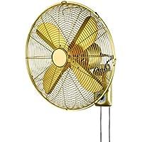 Ventilador De Pared Ajustable De 3 Velocidades Oscilante De La Vendimia Todo El Control De Metal Colgante Ventilador De Pared Inicio Restaurante Europa Y América Ventilador Eléctrico De 16 Pulgadas, Oro
