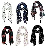 #2: ICW Girls' Scarf (Multi-Coloured Small) 22 x 72 Inch Soft Cotton and Chiffon Export Surplus Quality 6 pc