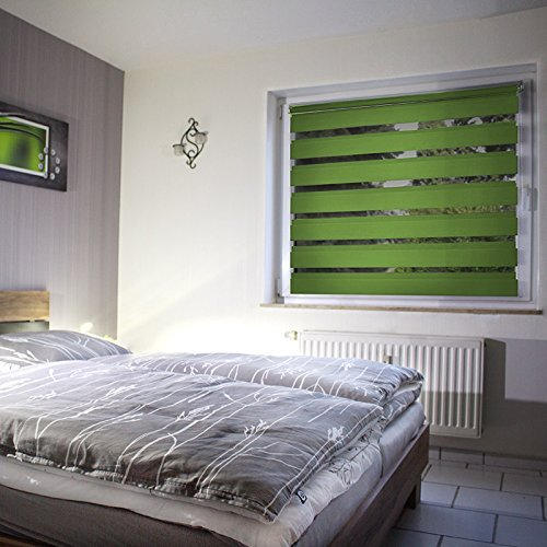 Sol Royal SolDecor DL2 Doppelrollo Klemmfix ohne Bohren 40x150cm (BxL) Grün – Duo-Fenster-Rollo mit Klemmträger - 7