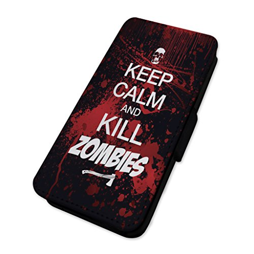 "Handy-Klappschutzhülle mit Aufschrift ""Keep Calm & Kill Zombies"" Apple Iphone 5/5s/SE"