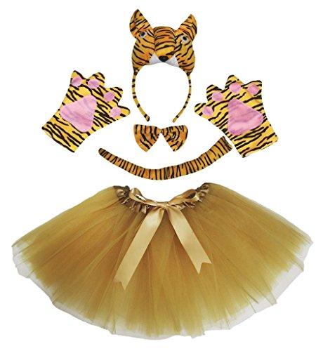 Petitebelle 3D-Tiger-Stirnband Bowtie Schwanz Glove Rock 5pc Kostüm für die Dame Einheitsgröße