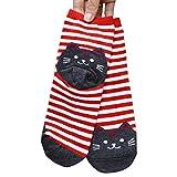 covermason Mujer Huellas del gato Calcetines de dibujos animados Animales rayas Calcetines de algodón (Rojo)