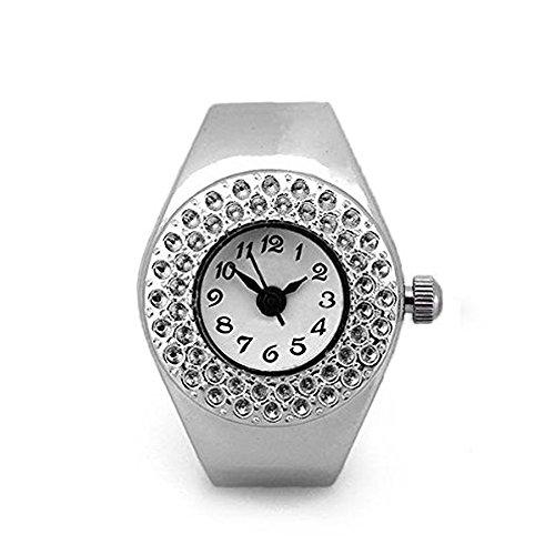 SODIAL(R) TOP Damen Quarzuhr Ringuhr Ring Uhr Fingeruhr Uhrenring silberfarbe