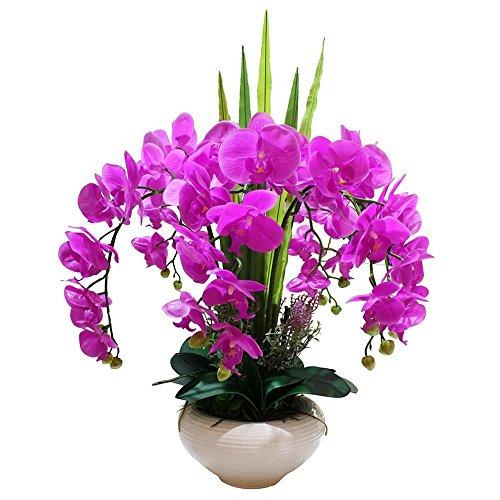 Jnseaol Kunstblumen Orchidee DIY Hochzeit Hotel Party Küche Fensterbank Eine Große Dekoration Keramik Topf Lila-02