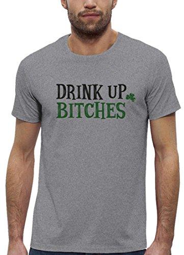 Saint Patrick´s Day St. Patricks Day Herren T-Shirt Bio Baumwolle mit Drink Up Bitches Motiv Heather Grey