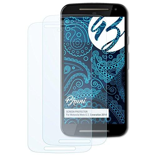 Bruni Schutzfolie kompatibel mit Motorola Moto G 2. Generation 2014 Folie, glasklare Bildschirmschutzfolie (2X)