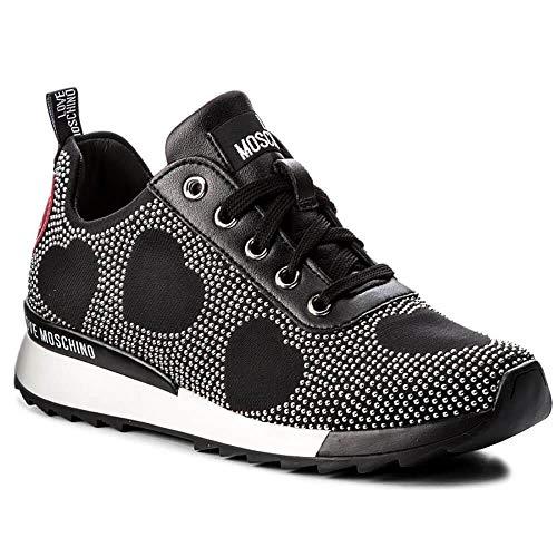 Love Moschino Zapatos Mujer Sneakers D Running 25 Jersey Nero Cuero  Espárragos 2d2d9e566467