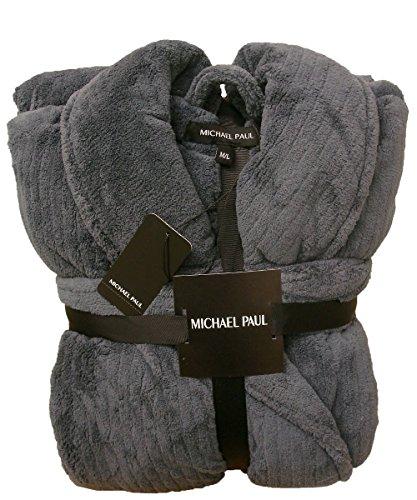 MICHAEL PAUL Herren Morgenmantel Dark Grey Textured