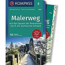 WF5265 Malerweg 18 Touren durch die Sächsische Schweiz Kompass: Wandelgids met overzichtskaart
