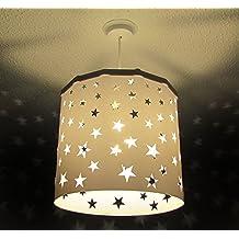 Pantalla Lámpara Colgante Estrellas Blancas (otros colores disponibles) Drum + Dispositivo Magnético, cambia la pantalla de forma fácil, rápida y segura incluso con la luz encendida. Perfecta para guarderías, peques, niños, recién nacidos