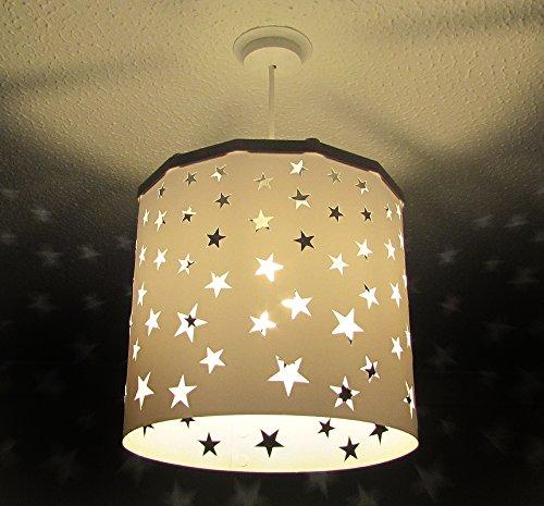 Pantalla Lámpara de techo Estrellas Blancas (otros colores disponibles) Drum + Dispositivo Magnético, cambia la pantalla de forma fácil, rápida y segura incluso con la luz encendida. Perfecta para guarderías, peques, niños, recién nacidos