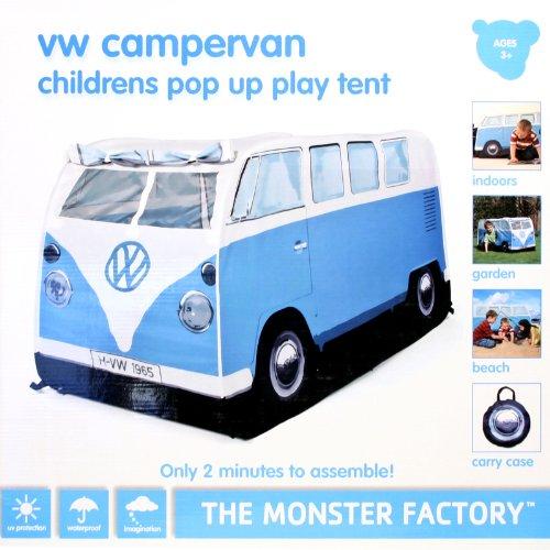 Pop Up Wurf Zelt für Kinder im Original VW Bus Bulli Design,blau, natürlich von Volkswagen lizensiert, Farbe blau