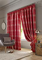 "Highland Tartan Check Plaid Red Beige Pencil Pleat Fully Lined Curtains 90"" X 90"" from Tartan Curtains"